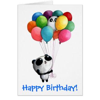 Carte L'anniversaire monte en ballon l'ours panda