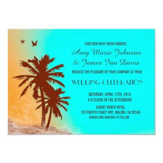Carte Le mariage de plage bleu d'océan de palmiers