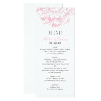 Carte Le menu de dîner de mariage carde la pivoine