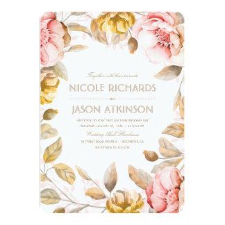Carte L'or et rougissent mariage floral