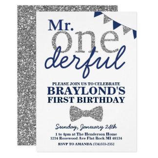 Carte M. Onederful Birthday Invitation, bleu et argent
