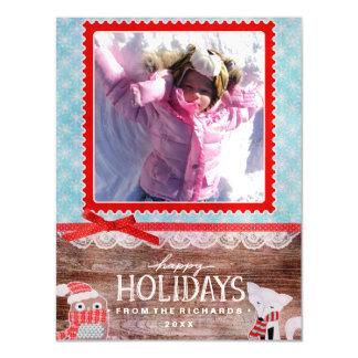 Carte Magnétique Bonnes fêtes photo de Noël d'amusement de Fox et