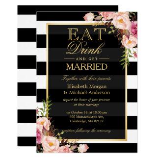 Carte MANGEZ la boisson et soyez mariage floral d'or