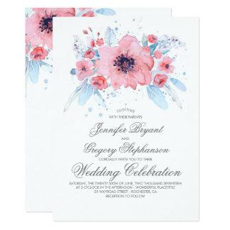 Carte Mariage floral d'aquarelles bleues et roses
