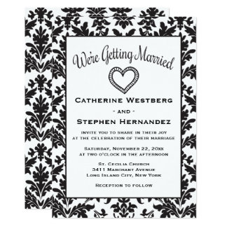 Carte Mariage floral de damassé noire et blanche vintage
