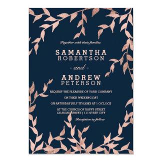 Carte Mariage floral de marine de branche d'or rose