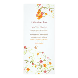 Carte Mariage floral d'été d'oiseaux de fleur jaune de