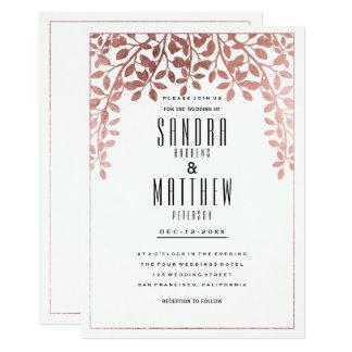 Carte Mariage floral d'or rose élégant élégant de faux