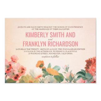 Carte Mariage floral romantique vintage de jardin de