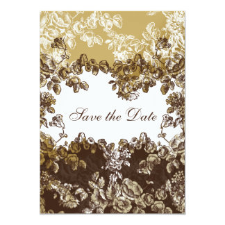 Carte Mariage floral vintage de Brown d'or chic
