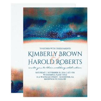 Carte Mariage moderne d'aquarelle de turquoise et de
