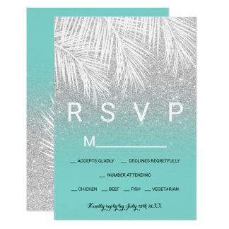 Carte Mariage moderne de la turquoise RSVP d'argent de