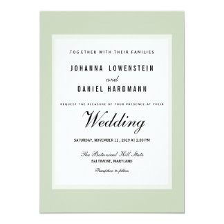 Carte Mariage moderne vert chic minable