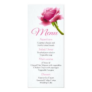 Carte Mariage/partie roses de fleur de menu rose floral