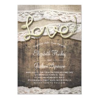 Carte Mariage rustique de grange de dentelle de toile de