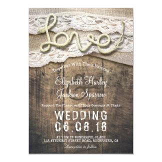 Carte Mariages rustiques de grange de dentelle de toile