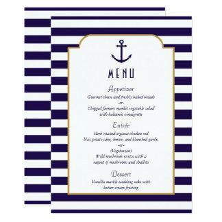 Carte Marine nautique et menu blanc de mariage d'ancre