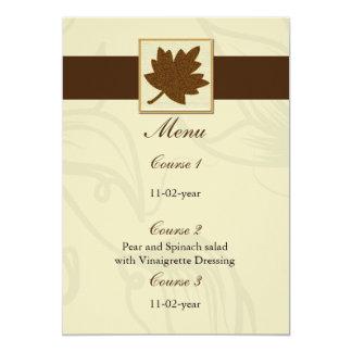 Carte menu brun de mariage de automne
