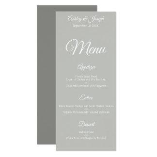 Carte Menu de mariage - gris