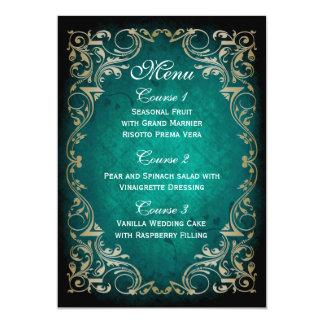 Carte menu majestueux de mariage d'or rustique d'aqua