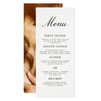 Carte Menu minimaliste de mariage de photo de