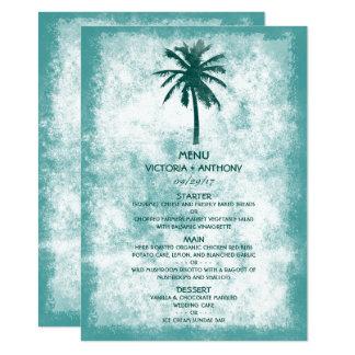 Carte Menu tropical de mariage de plage de palmier