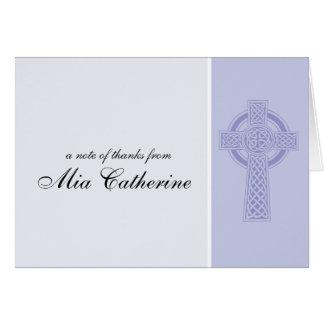 Carte Merci de communion de croix celtique première