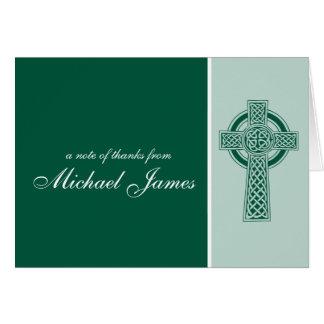 Carte Merci religieux de communion de croix première