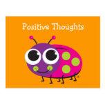 Carte mignonne de coccinelle de pensées positives carte postale