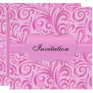 Carte Modèle tourbillonnant rose et argenté de fantaisie
