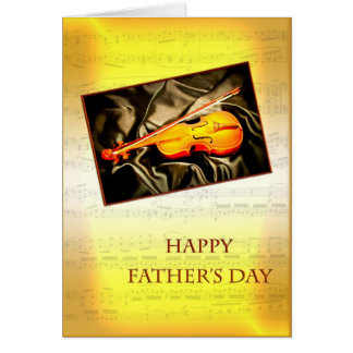 Carte musicale de fête des pères avec un violon