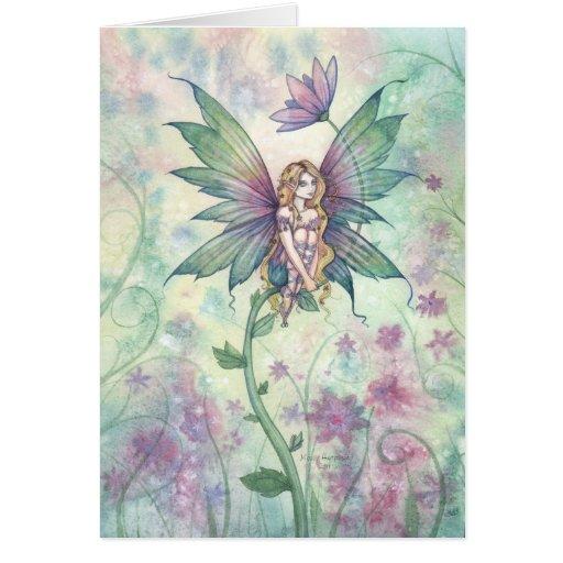 Carte mystique de fée de fleur de jardin