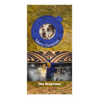 Carte Noël bleu de feuille d'or de Faux de photo de