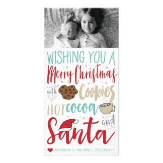 Carte Noël Photocard - Père Noël, biscuits, Chocolat