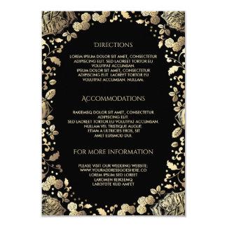 Carte Noir et information de détails florale de mariage