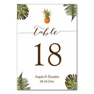 Carte Nombre tropical de Tableau de mariage d'ananas de