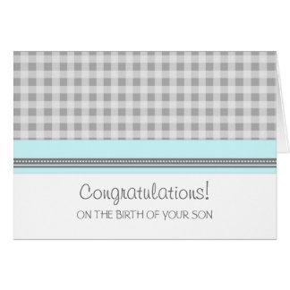 Carte Nouveau bébé de félicitations bleues de guingan