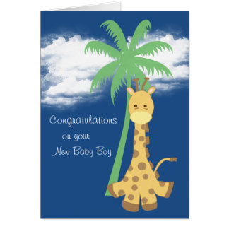 Carte Nouvelle girafe de bleu de félicitations de bébé