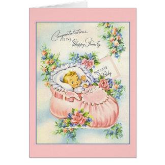 Carte Nouvelles félicitations vintages de bébé à la