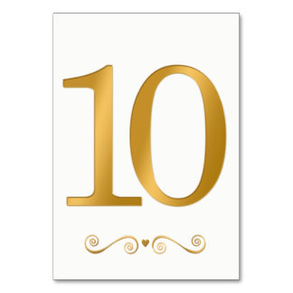 Carte Or lumineux élégant nombre métallique 10 de Faux