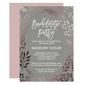 Carte Or rose élégant et partie grise de Bachelorette