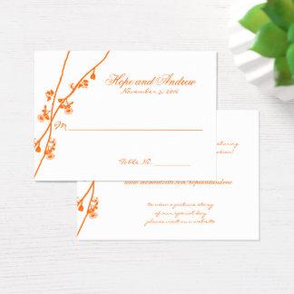 Carte orange d'endroit de mariage de Branche de