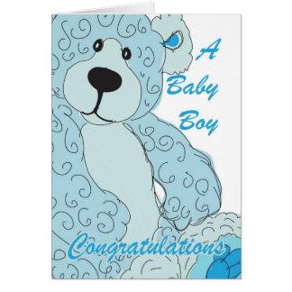 Carte Ours de nounours de félicitations de bébé dans le