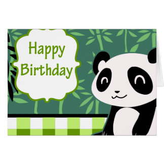 Carte Panda de bambou de vert de joyeux anniversaire