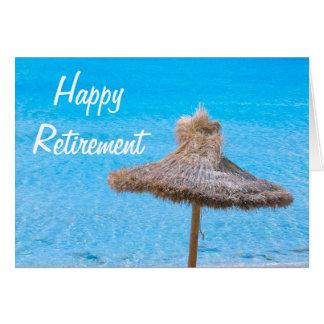 Carte Parapluie de plage heureux de retraite