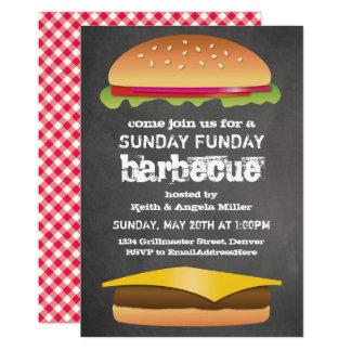 Carte Partie de barbecue de tableau de dimanche Funday