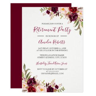 Carte Partie de retraite florale rouge de Bourgogne