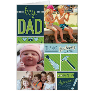 Carte personnalisée de fête des pères avec des pho
