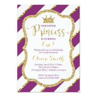 Carte Petite princesse Birthday Invitation, pourpre et