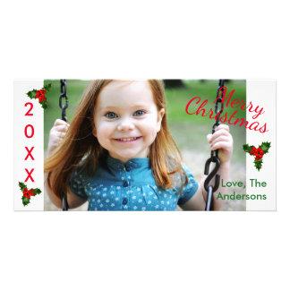 Carte photo blanc de Noël-Noël du houx 3 joyeux